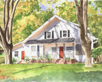 watercolor of an antique home